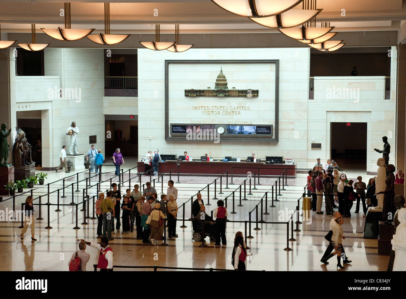 Visitors in the entrance hall, the Capitol building visitor center, Washington DC USA - Stock Image