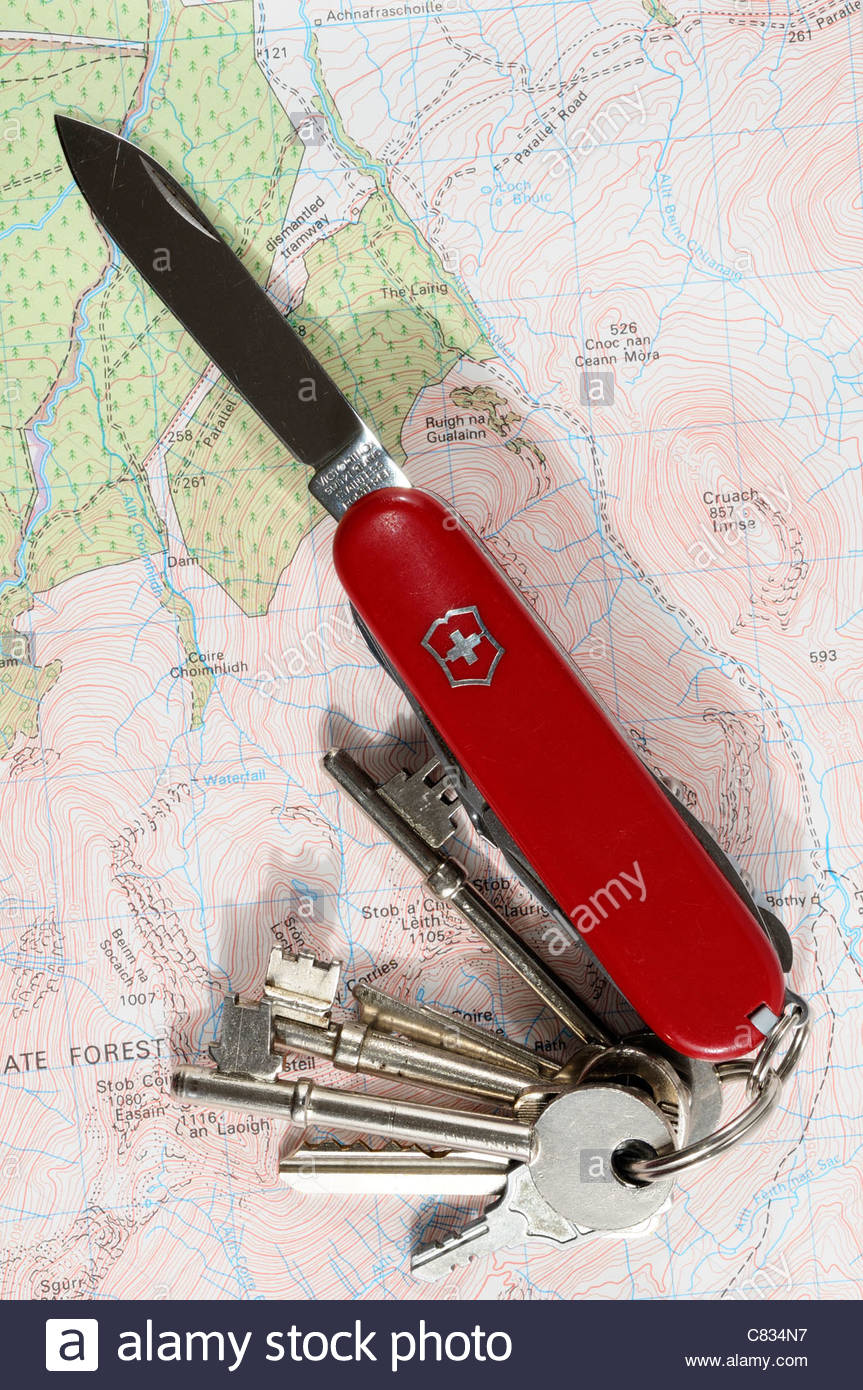 Swiss army knife on keyring 2 - Stock Image