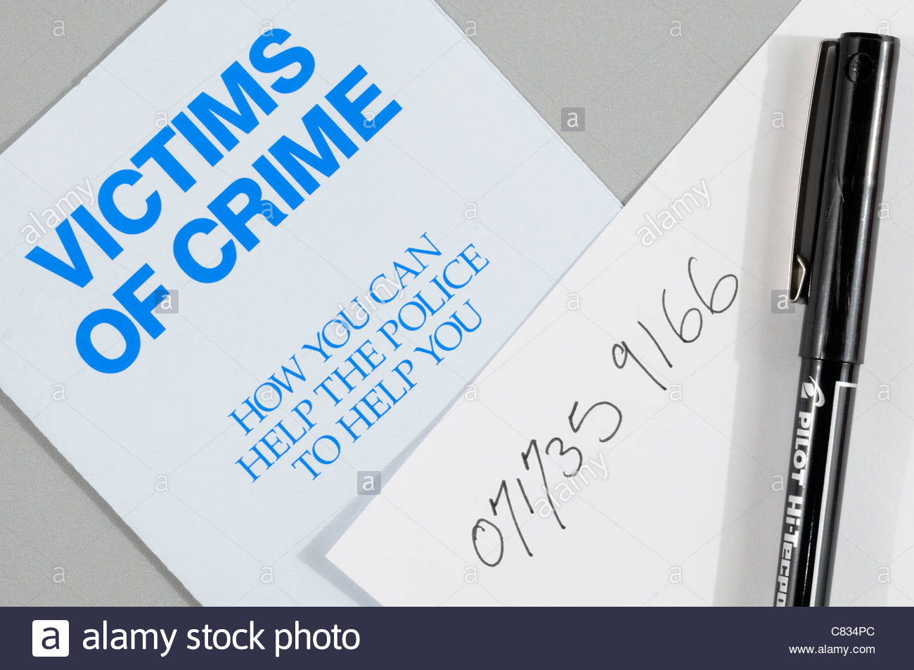 Top down view of a victims of crime pamphlet, England, UK Stock Photo