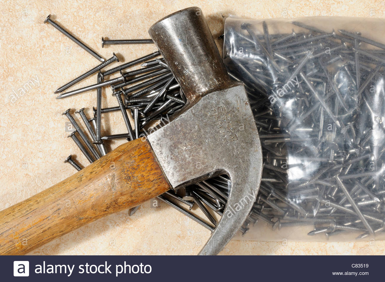 Claw hammer and nails, DIY tools, England - Stock Image