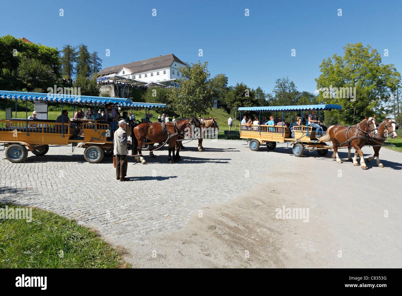 Horse carriages on the Herreninsel, Chiemgau Upper Bavaria Germany - Stock Image