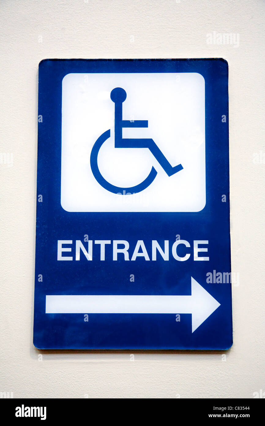Disabled wheelchair entrance sign, USA - Stock Image