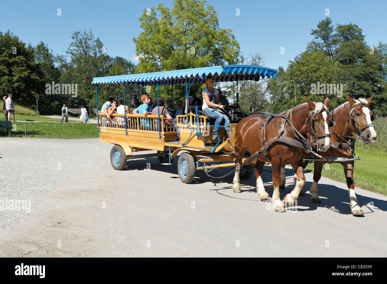 Horse carriage on the Herreninsel, Chiemgau Upper Bavaria Germany - Stock Image