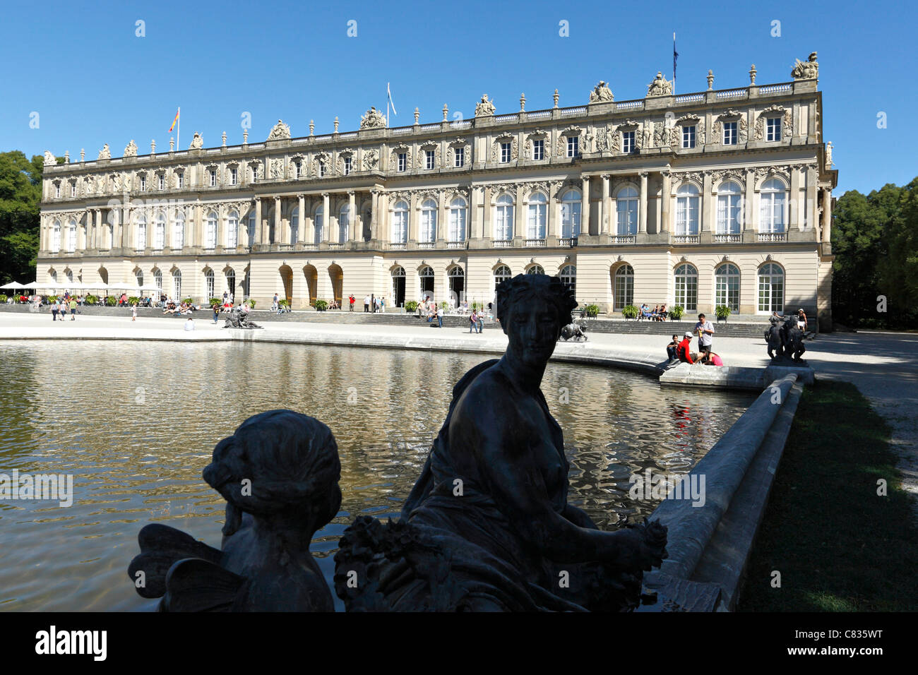 Herrechiemsee Schloss Palace and Fortuna Fountain, Herreninsel Chiemgau Upper Bavaria Germany - Stock Image