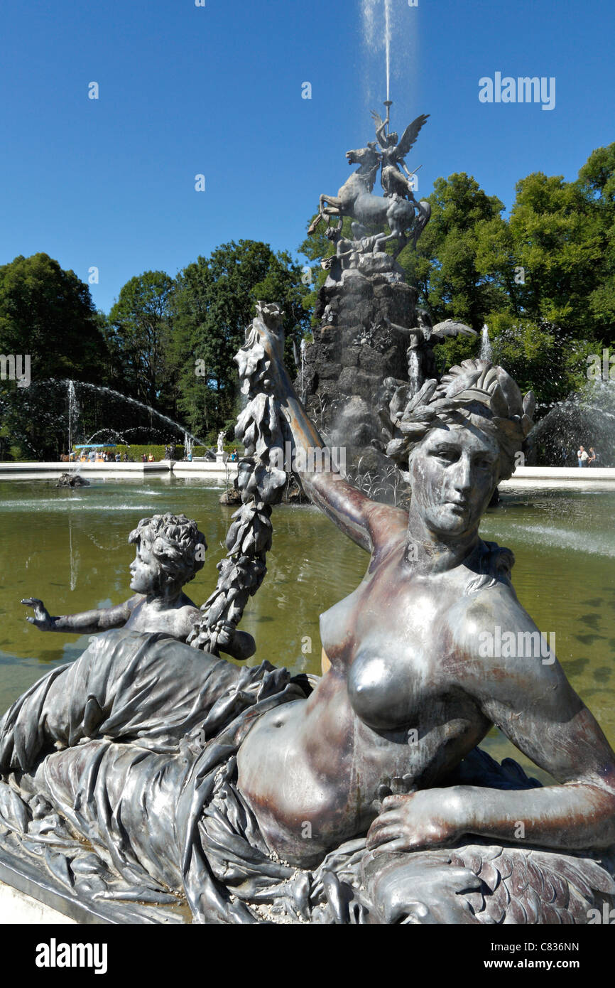 Figure on the Fama Fountain at the Herrechiemsee Schloss Palace , Herreninsel Chiemgau Upper Bavaria Germany - Stock Image