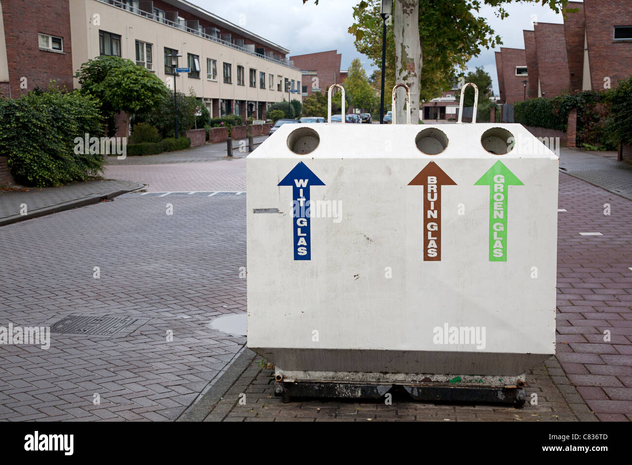 Bottle bank to separate different colors of glass, Alblasserdam, South-Holland, Netherlands - Stock Image