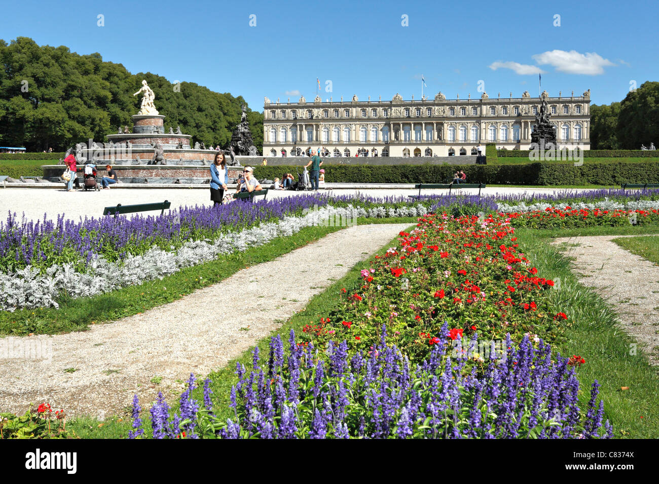 Herrechiemsee Schloss Palace Garden, Herreninsel Chiemgau Upper Bavaria Germany - Stock Image