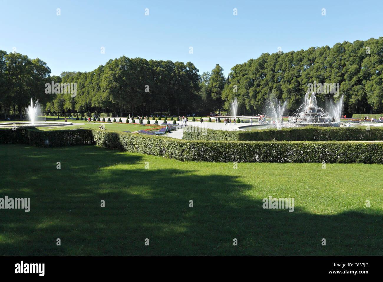 Herrechiemsee Schloss Palace Garden, Herreninsel Chiemgau Upper Bavaria Germany - Stock Image