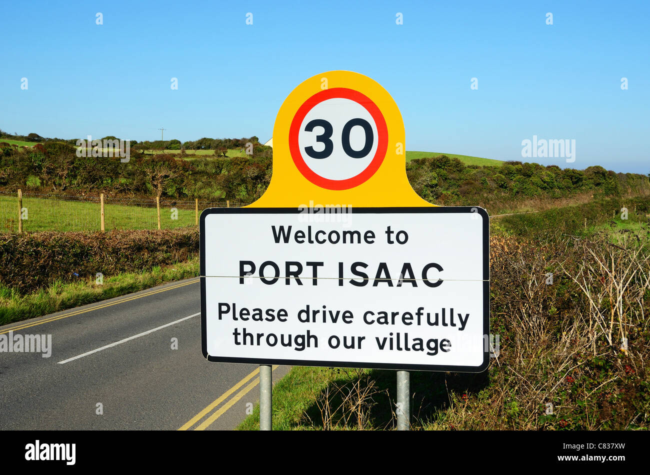 A drive carefully sign on a quiet country road just outside the village of port isaac in north cornwall, uk - Stock Image