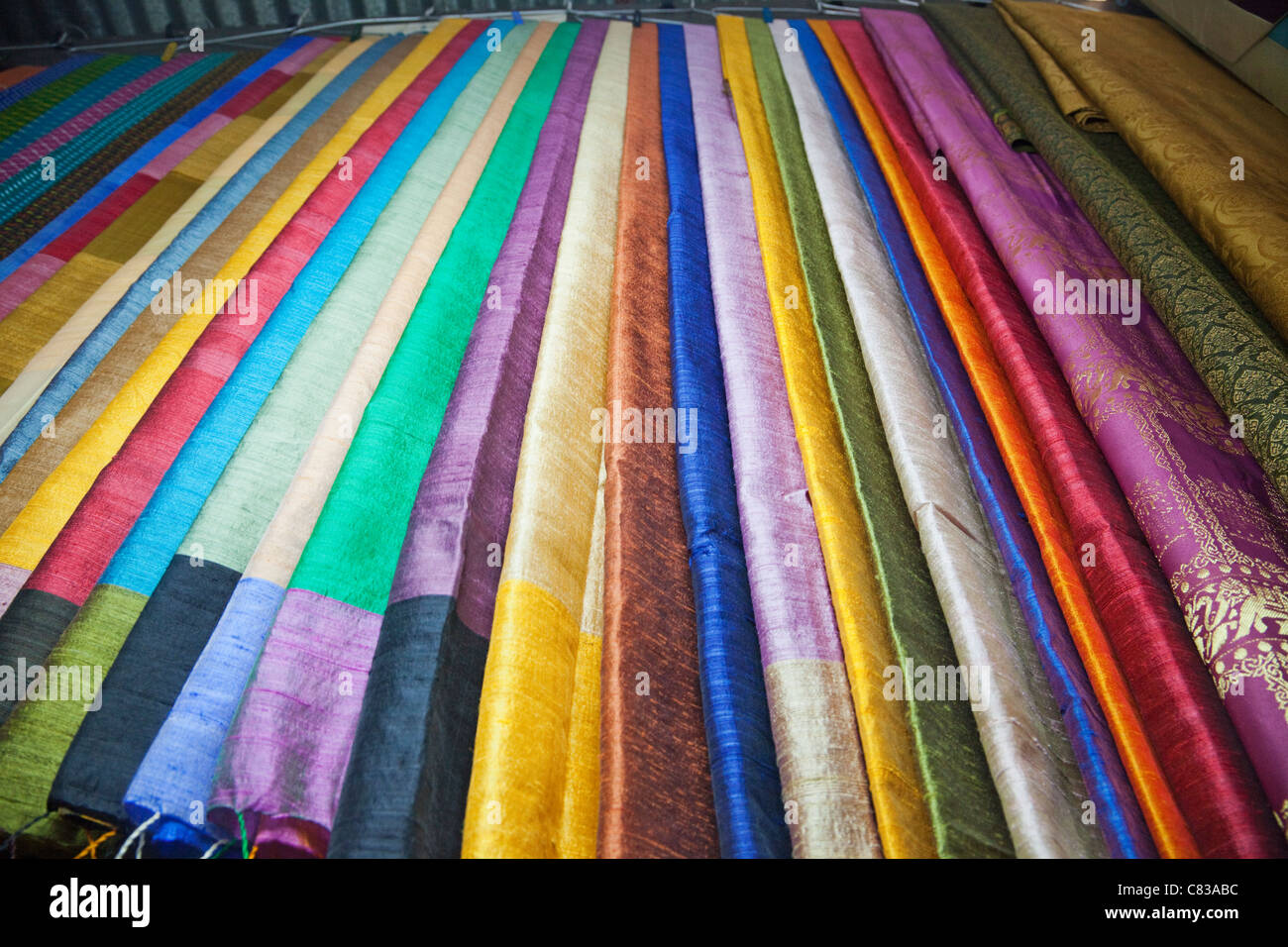 Cambodia, Phnom Penh, Russian Market, Material and Silk Shop, Detail of Silk Fabrics Stock Photo