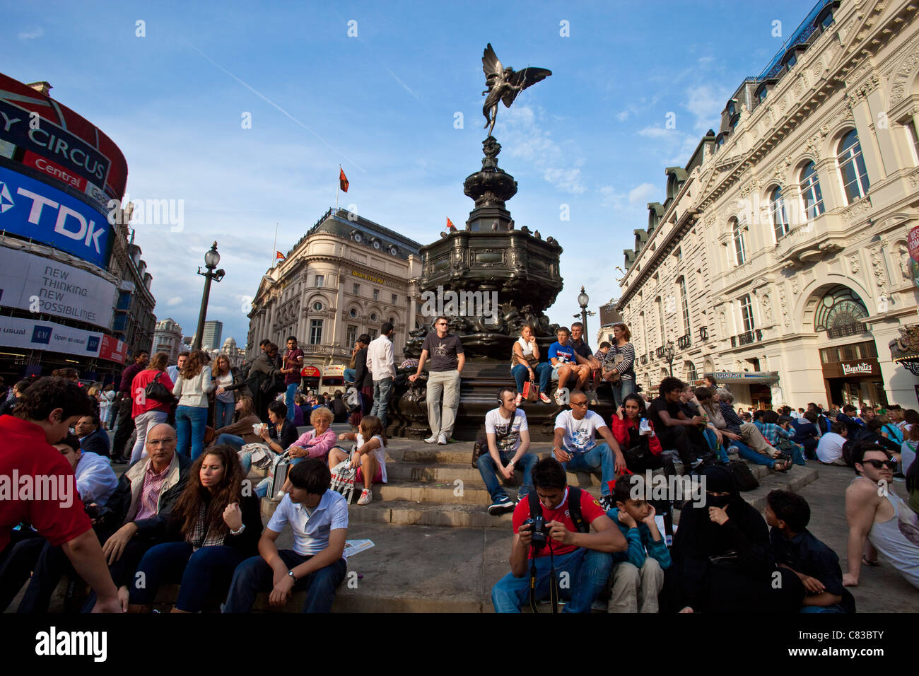 Statue of Eros, Piccadilly Circus, London, England - Stock Image