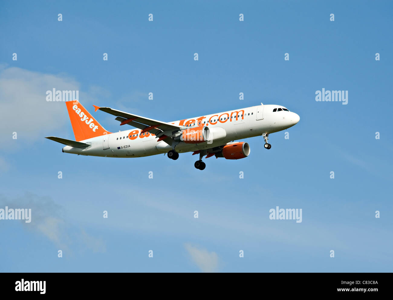EasyJet Airbus A320-214 Airliner G-EZUA Landing at Gatwick International Airport West Sussex England United Kingdom Stock Photo