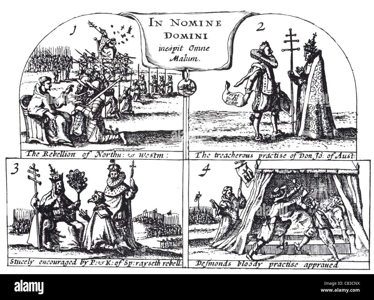 A THANKFUL REMEMBRANCE OF GOD'S MERCY published by George Carleton in 1624 showing Catholic plots against Elizabeth - Stock Image