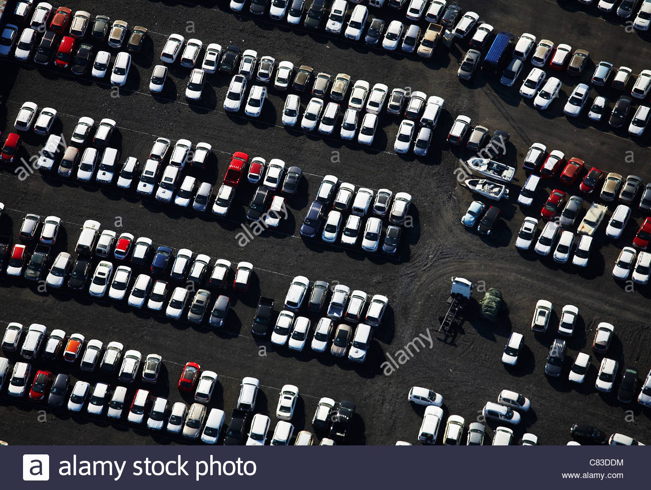 Aerial view of cars in parking lot - Stock Image