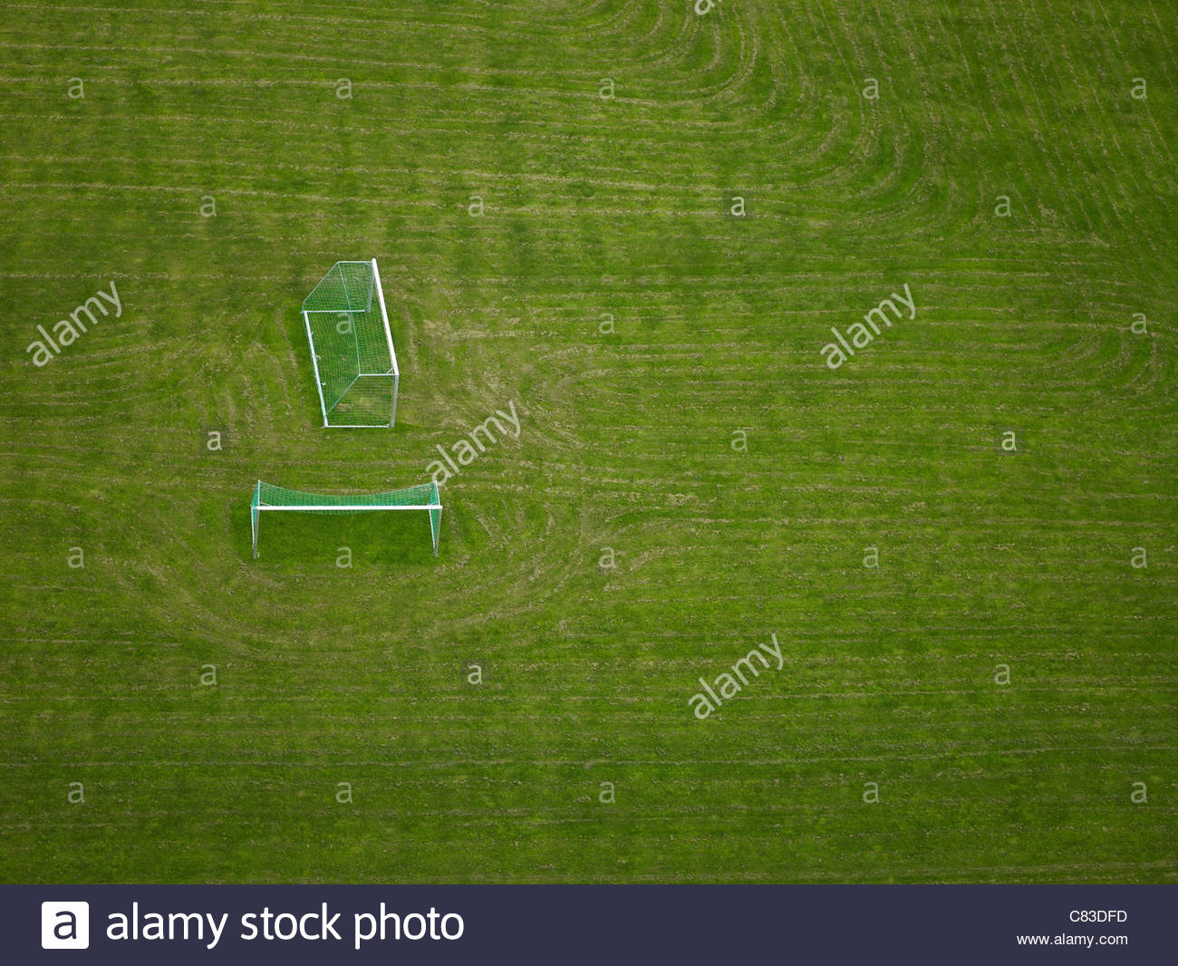 Aerial view of discarded soccer goals - Stock Image