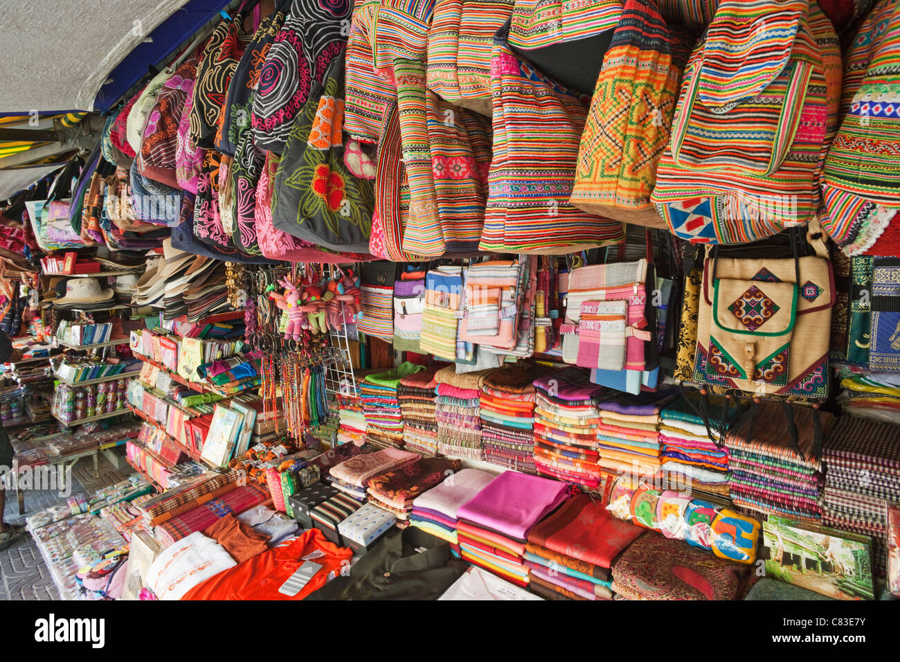 Cambodia Siem Reap The Old Market Bag Shop Stock Photo