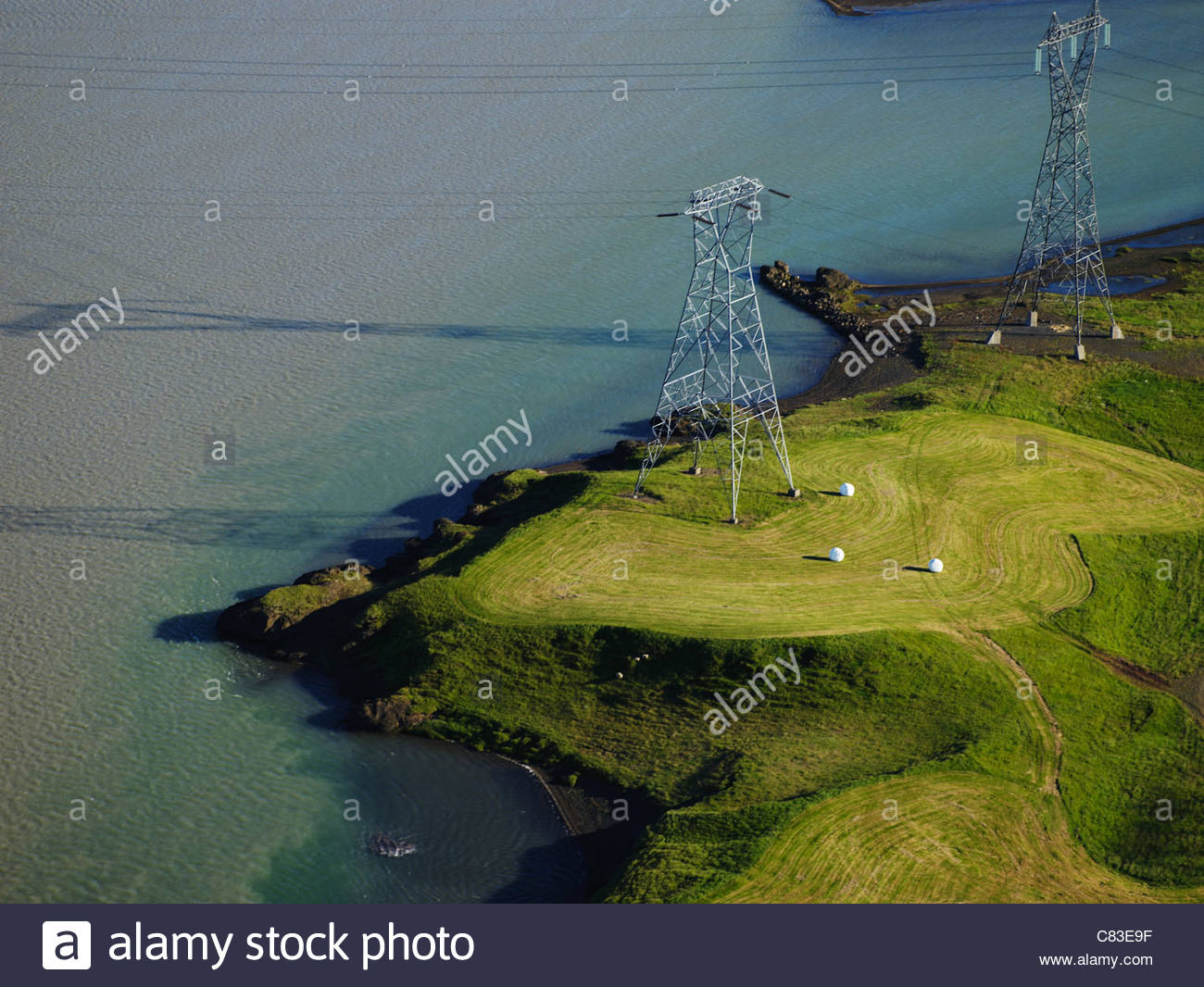 Aerial view of rural power lines - Stock Image