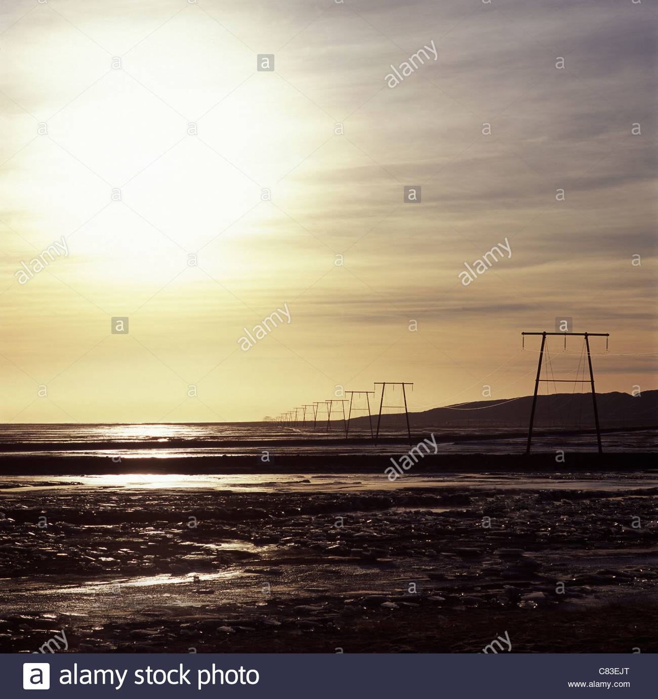 Power lines in rural landscape - Stock Image