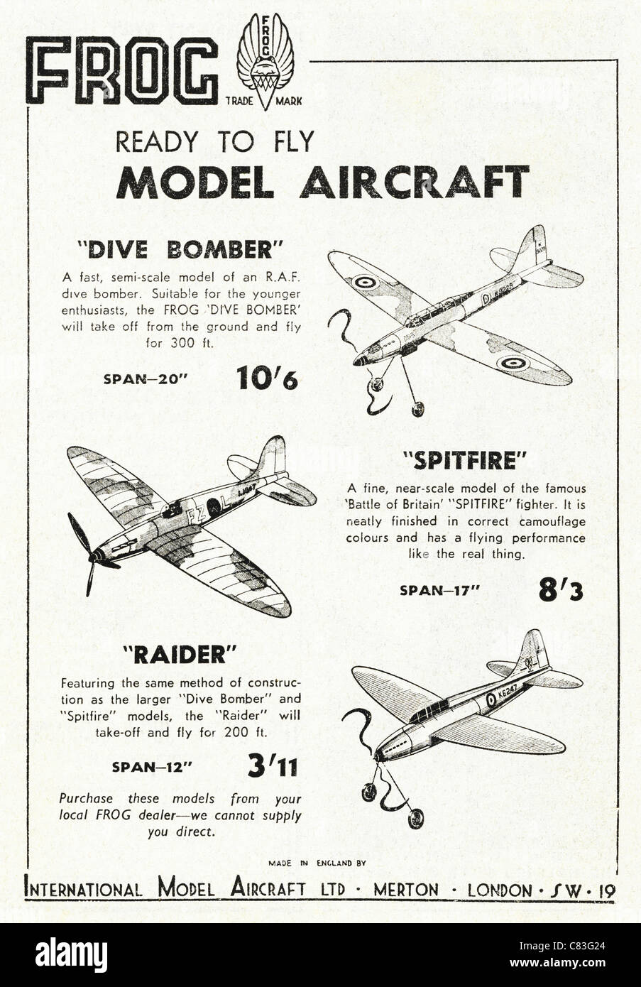 Hobby magazine advertisement circa 1948 advertising FROG ready to fly model aircraft - Stock Image
