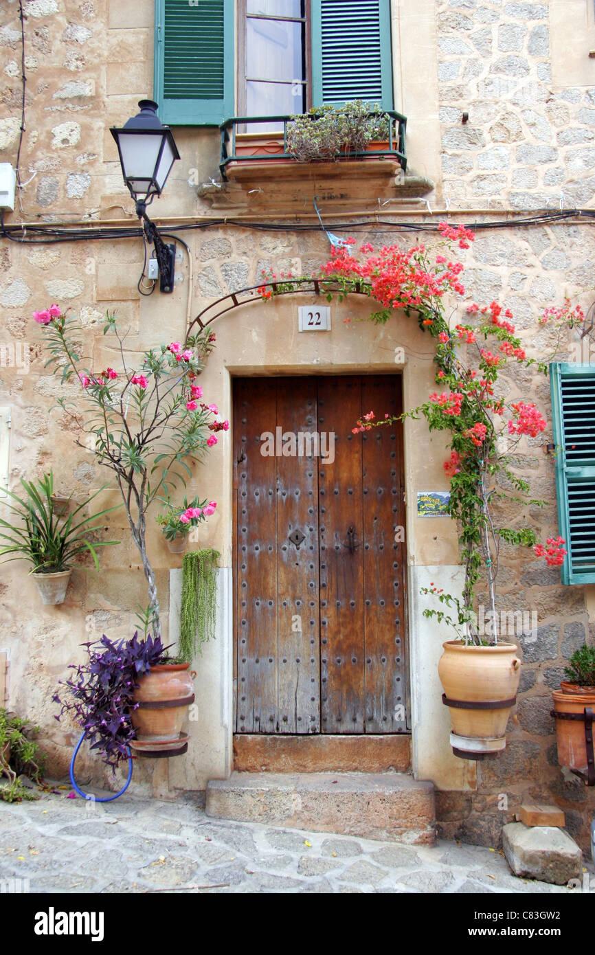 Doorway, Valldemossa, Majorca, Spain Stock Photo
