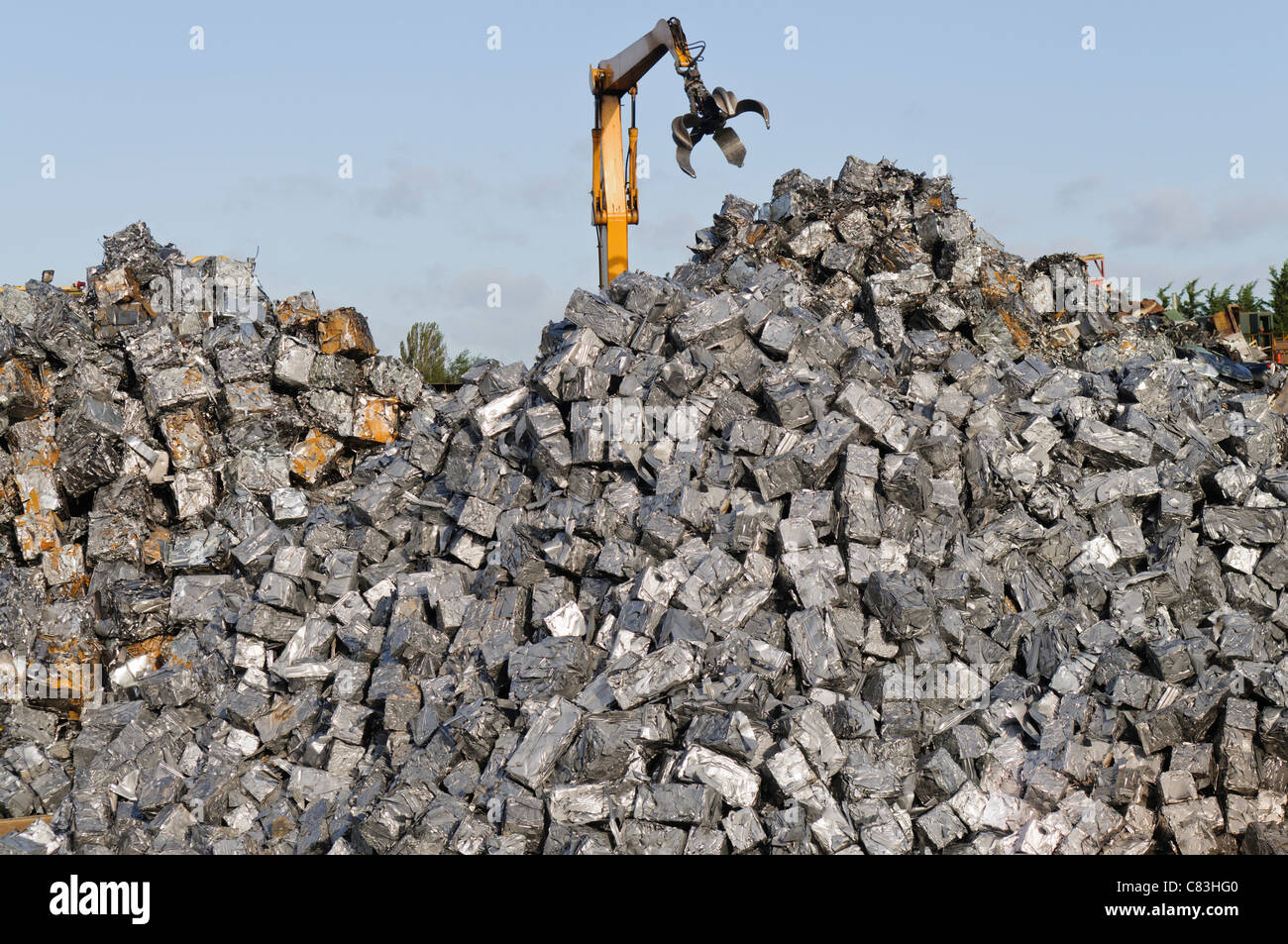 Scrap metal cubes in a scrap yard Stock Photo: 39417616 - Alamy