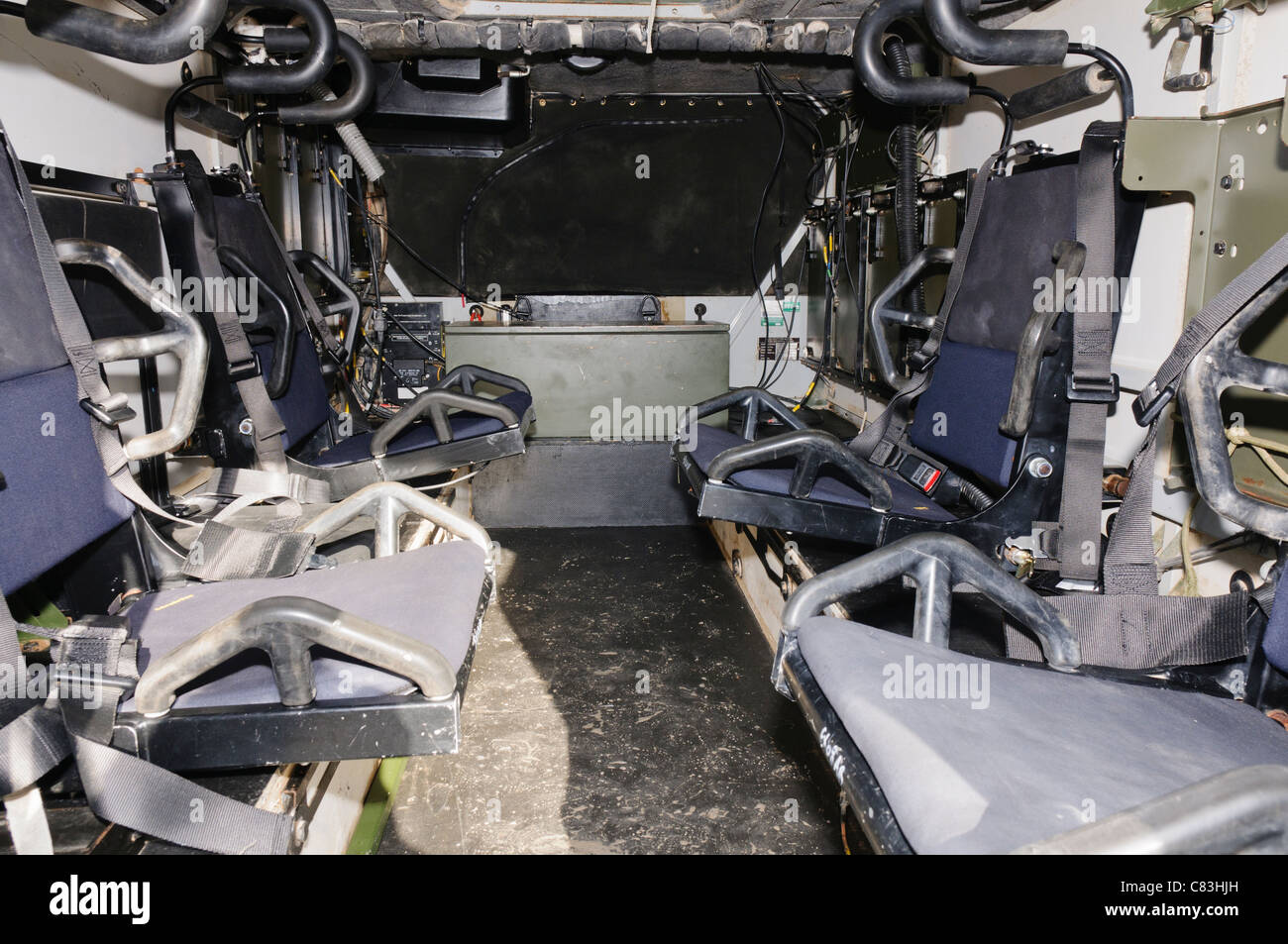 Inside a Vector Armoured Personnel Carrier - Stock Image