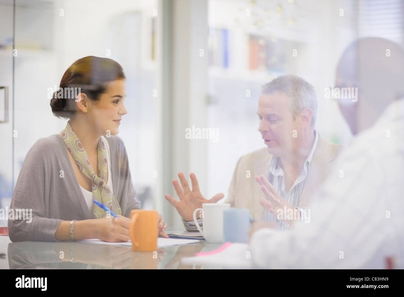 Business people talking in conference - Stock Image