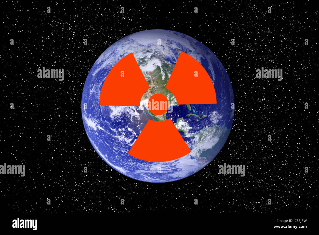 Radioactive sign over image of the Earth. - Stock Image