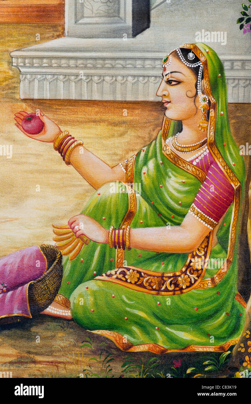 Traditional Indian oil painting on canvas of an Indian woman Gopi. India - Stock Image