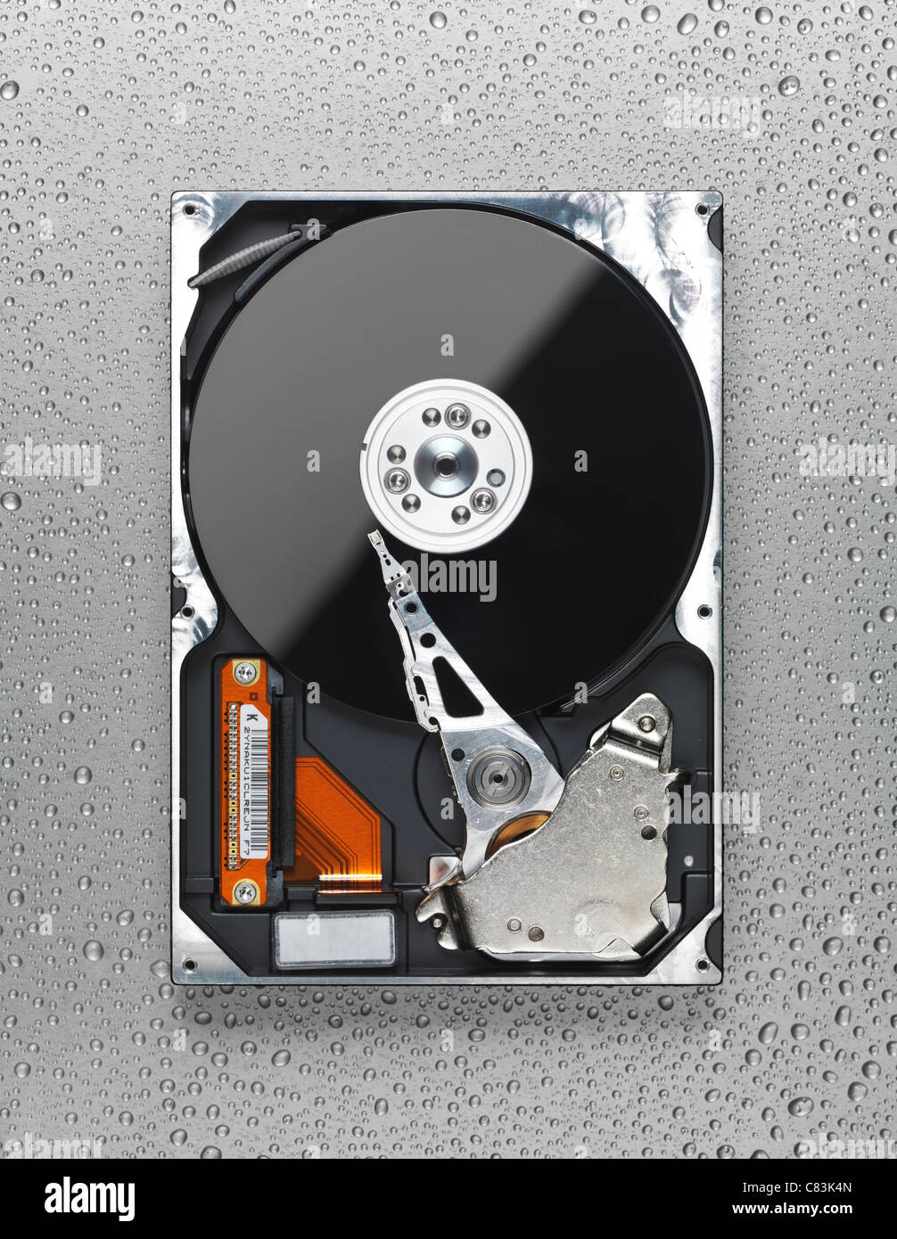 Open computer hard disk drive HDD on wet metal surface - Stock Image