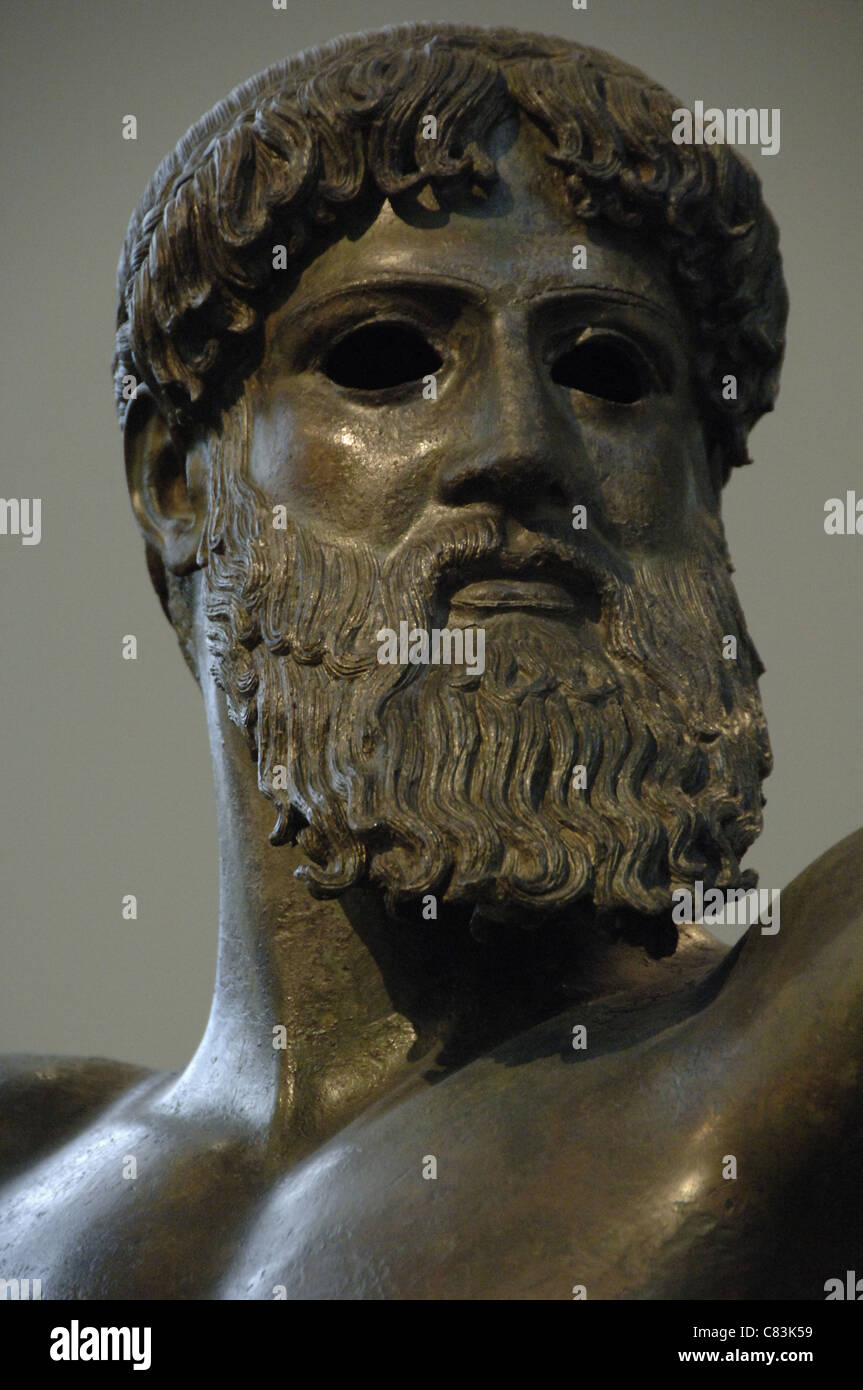 Greek art. Classical period. Initial Period. Zeus. Bronze sculpture. Dated to the year 460 BCE. Stock Photo