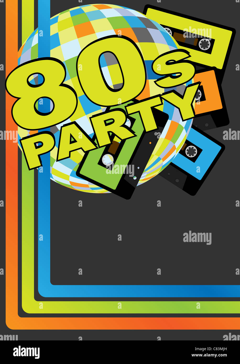 Retro Party Background - Retro Audio Cassette Tapes, Disco Ball and 80s Party Sign - Stock Image