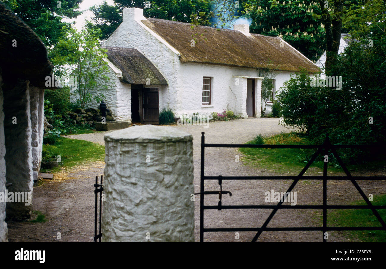 The Mallon Homestead at The Ulster American Folk Park near Omagh Northern Ireland - Stock Image