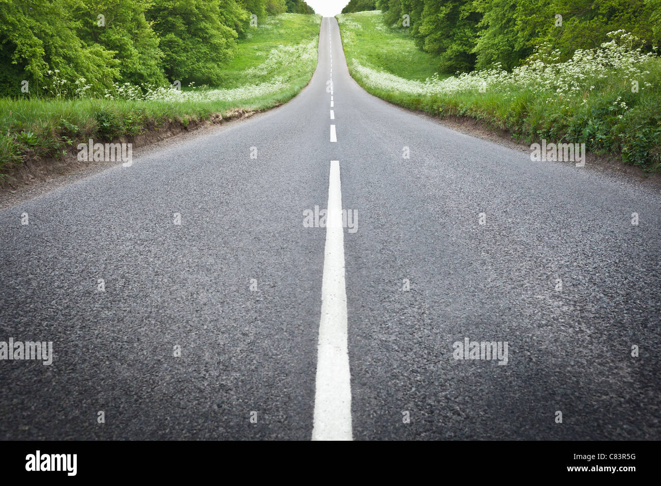 Stripes on paved rural road - Stock Image