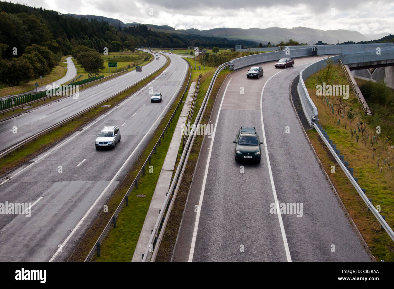 The new Road Junction at Balinluig. - Stock Image
