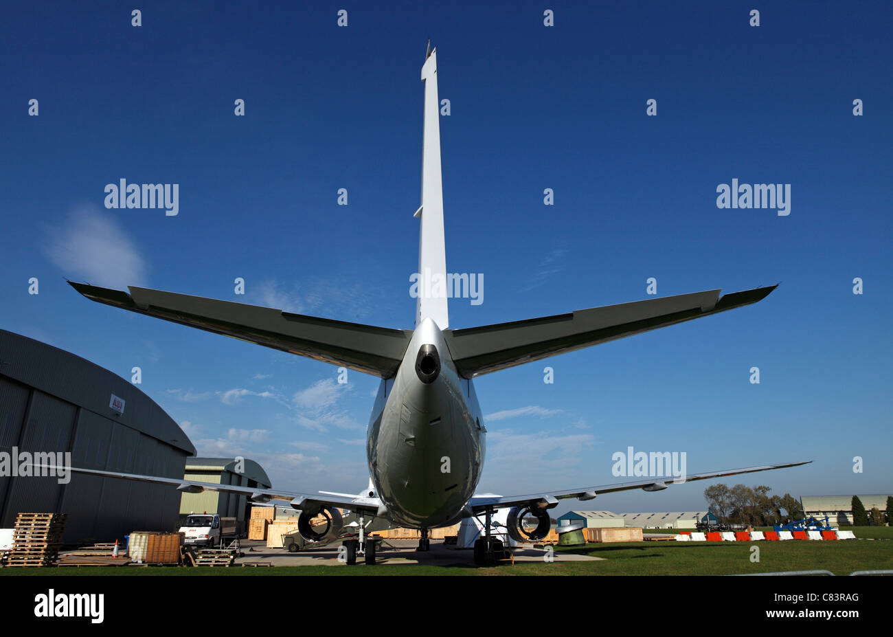 Aeroplane being scrapped and dismantled for parts - Stock Image