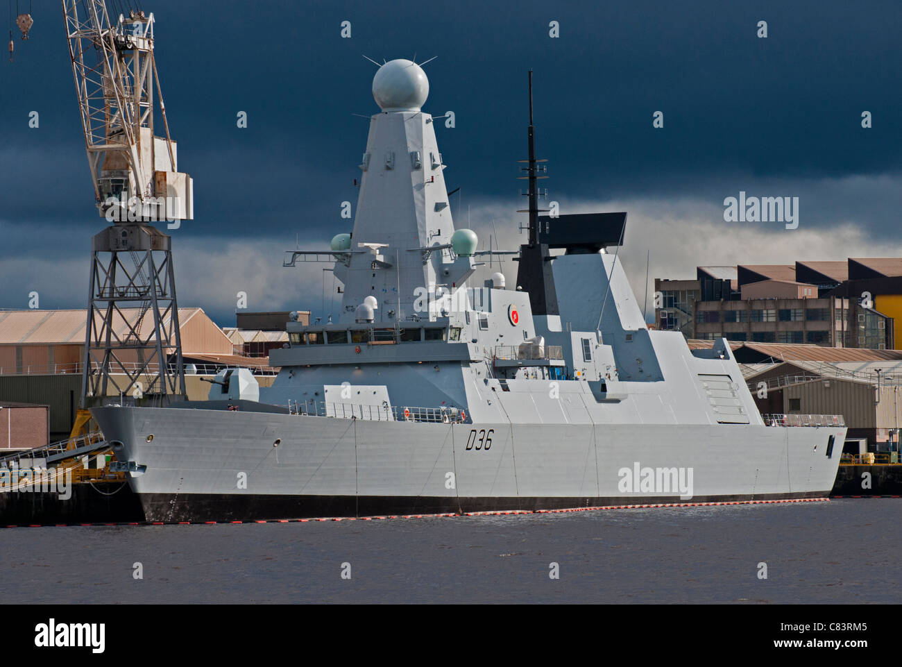 HMS Dragon berthed on the Clyde at the BAE systems dockyard - Stock Image