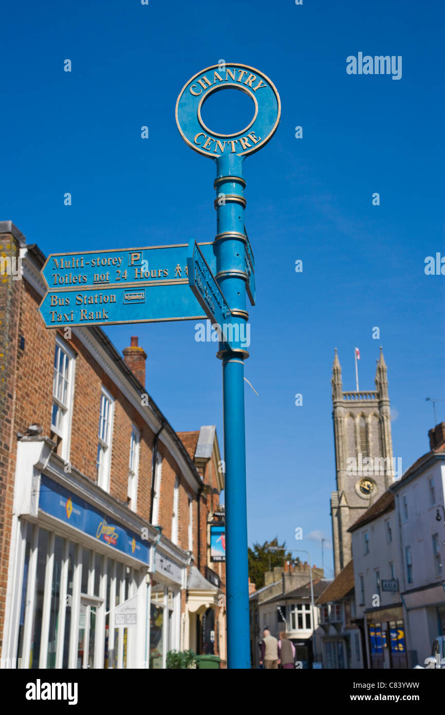 Tourist information signpost, High Street, Andover, Hampshire, England, UK - Stock Image