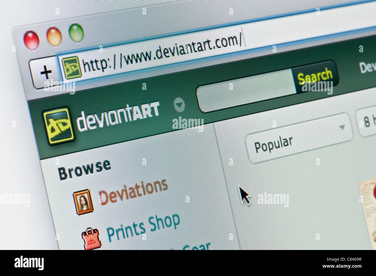 Close up of the Deviant Art logo as seen on its website. (Editorial use only: print, TV, e-book and editorial - Stock Image