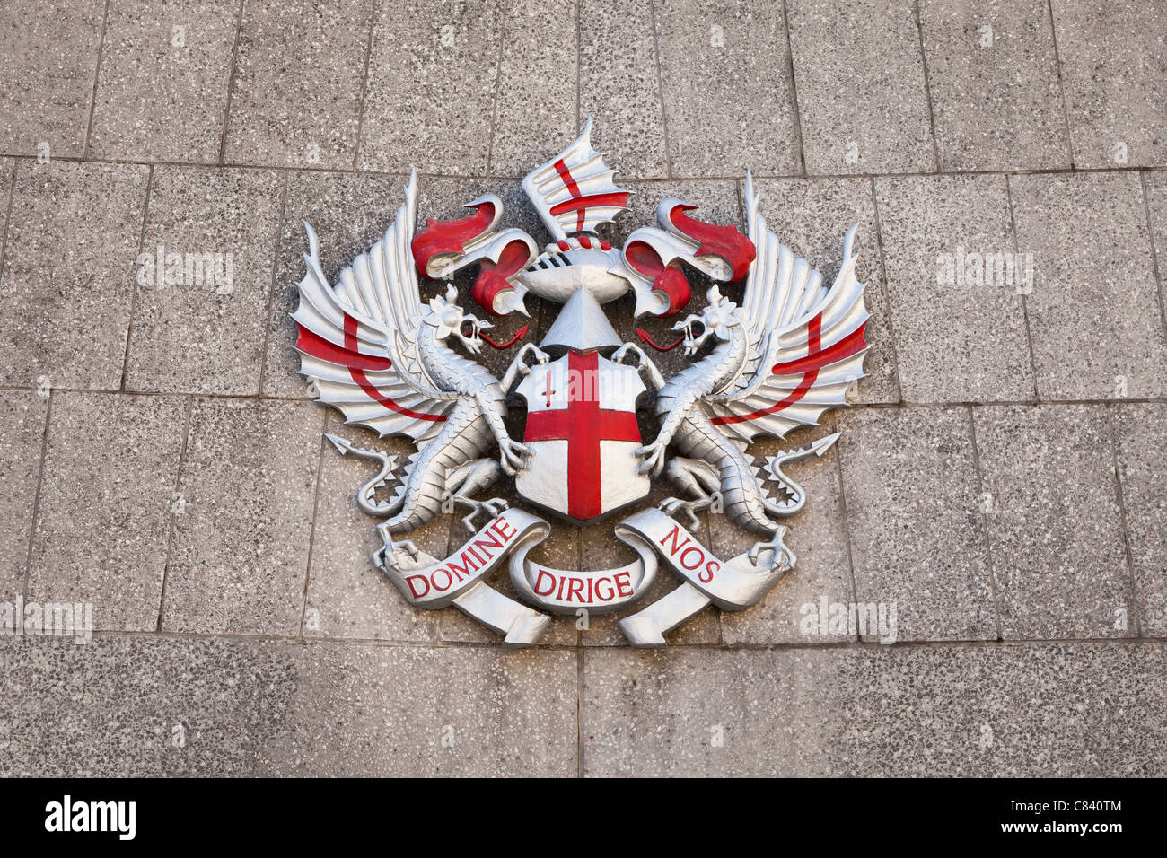 The coat of arms for the City of London Corporation, London, UK. - Stock Image