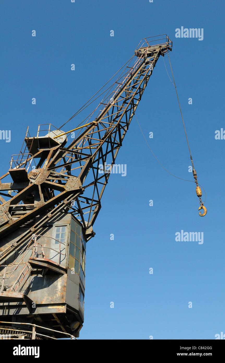 Crane at Chatham Historic Dockyard Kent UK - Stock Image