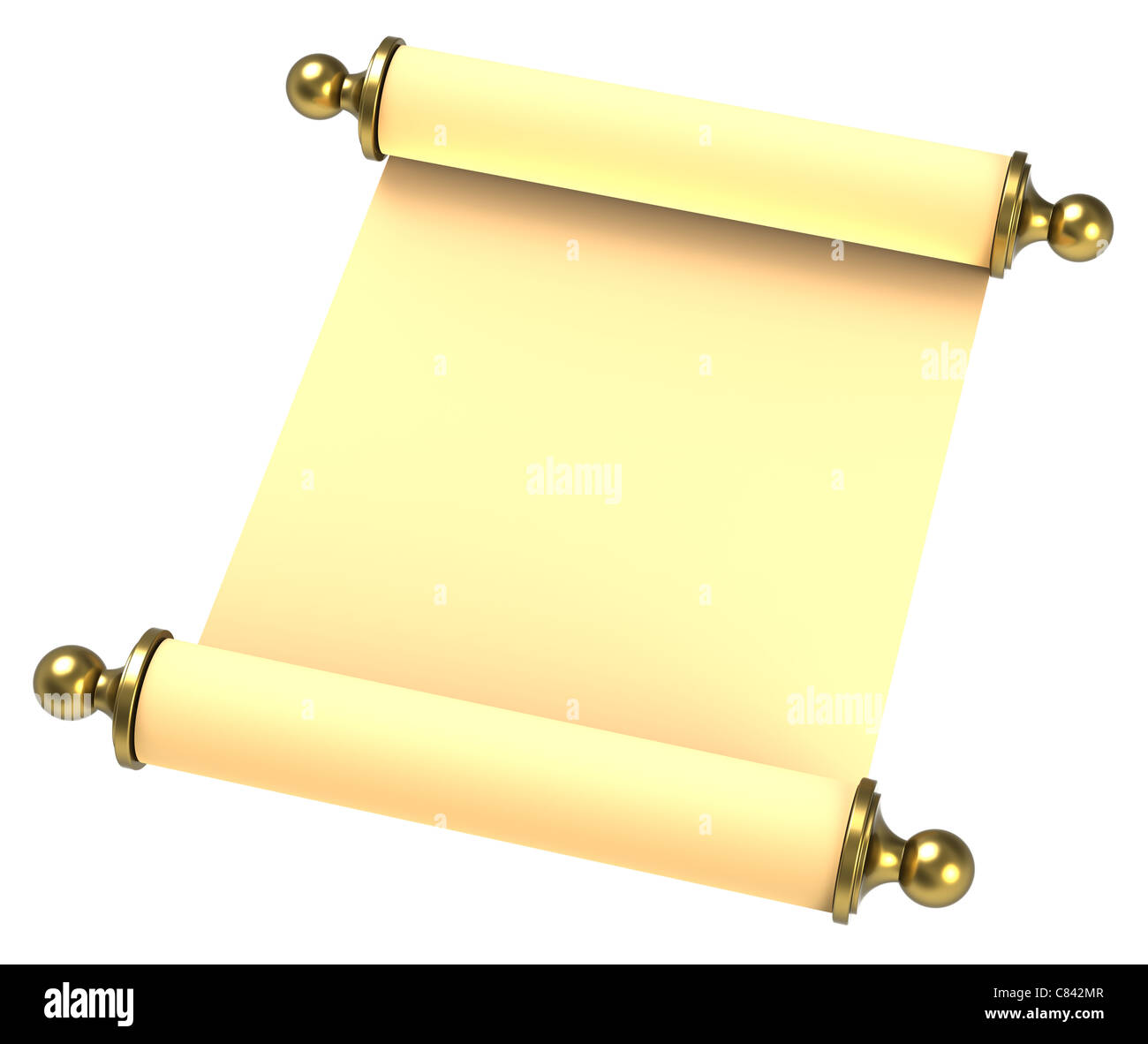 Scroll paper with golden handles over white - Stock Image