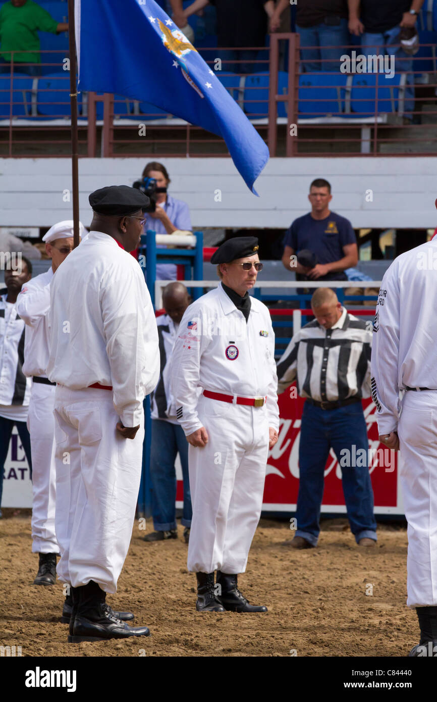 The Honor Guard at the Angola State Prison Rodeo in Louisiana State Penitentiary - Stock Image