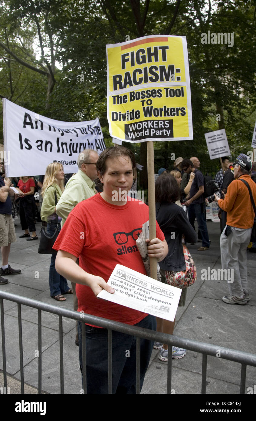demonstrator, activist, man political, fight, racism, unions, union, worker, placard, signs, - Stock Image