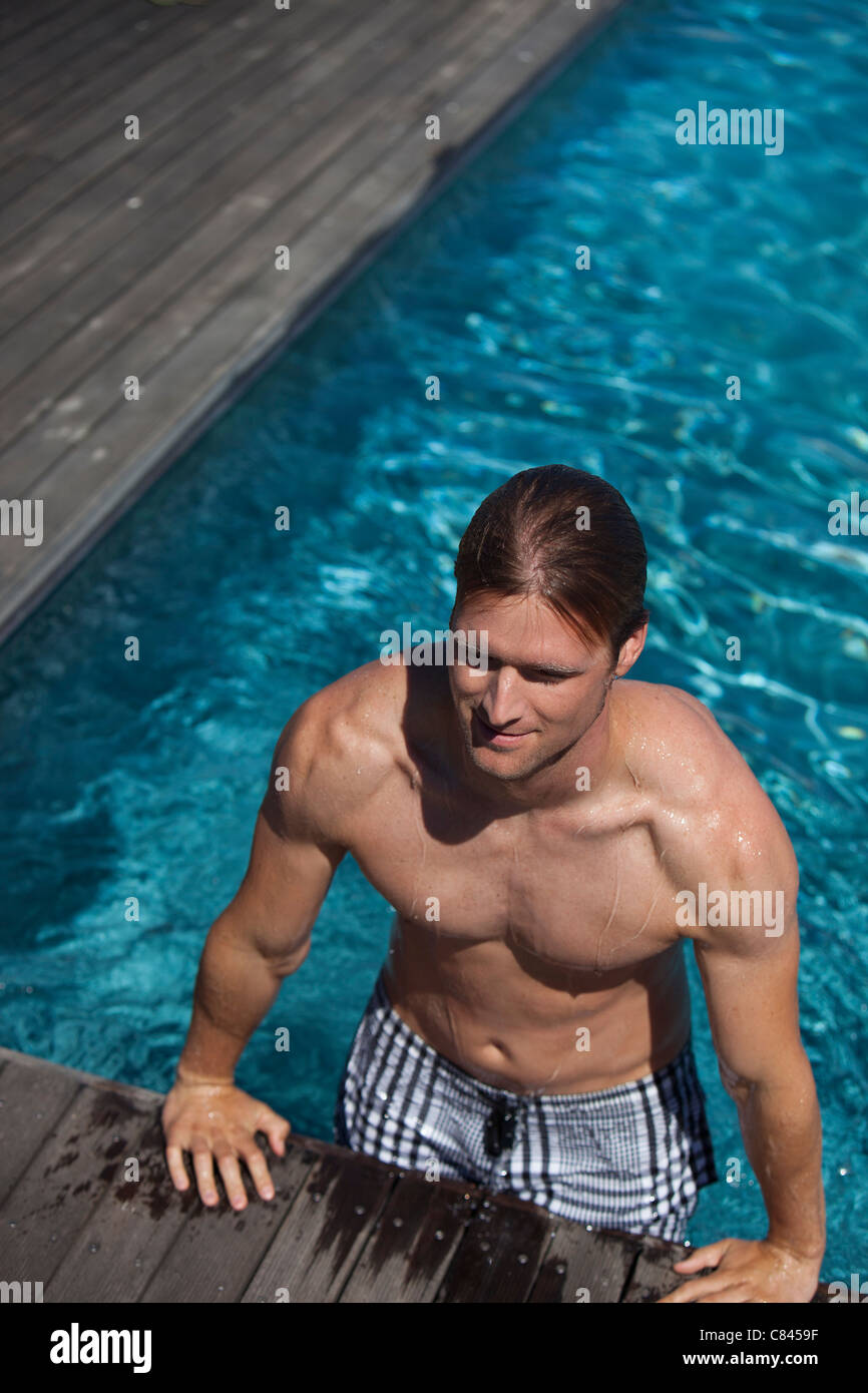 Climbing Out Of Swimming Pool Stock Photos Climbing Out Of Swimming Pool Stock Images Alamy