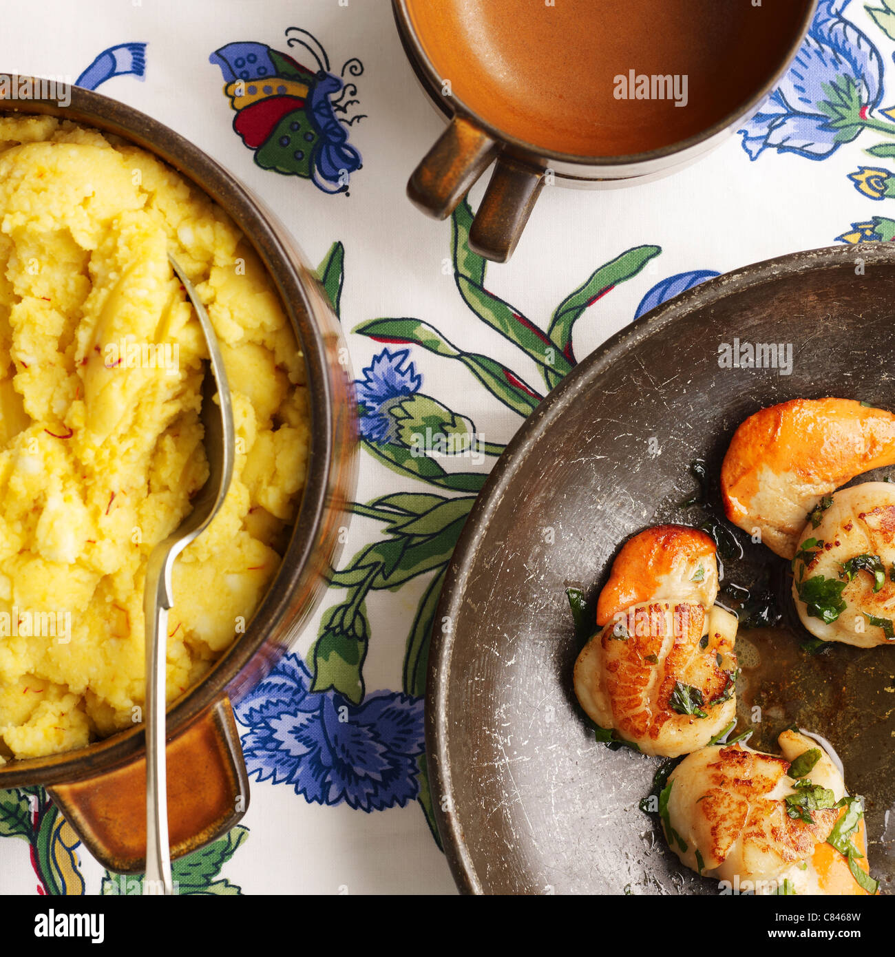 Saffron mash and shrimp Stock Photo