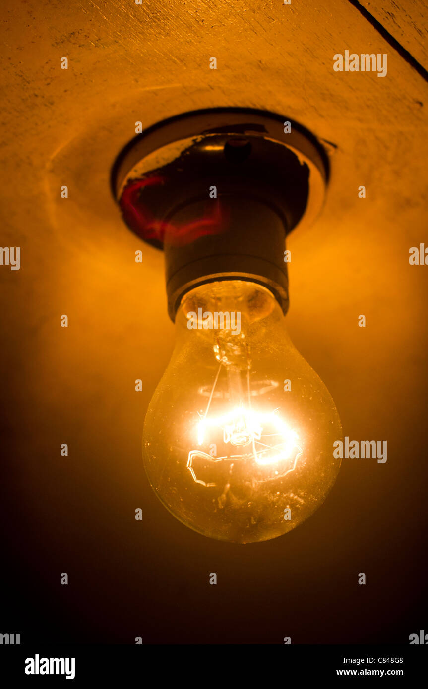 A Dim Bulb In Darkness, For Conceptual Usage.   Stock Image