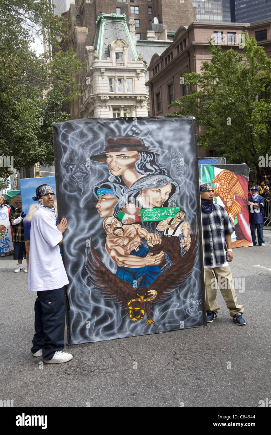 Mexican Independence Day Parade; NYC. - Stock Image