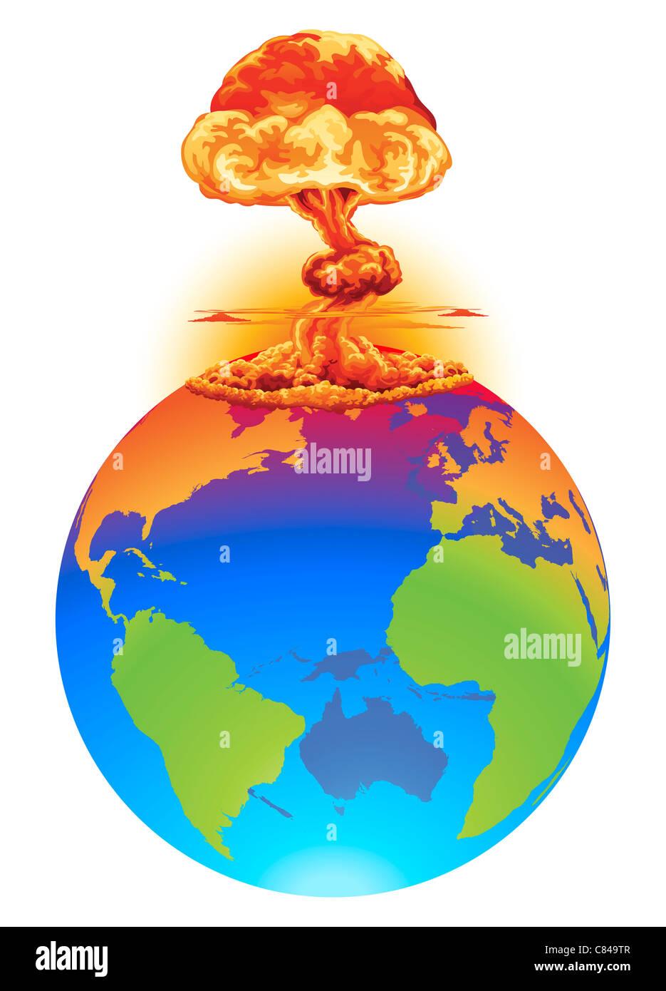 Mushroom World Map.A Mushroom Cloud Explosion On The World Globe Concept Global Stock