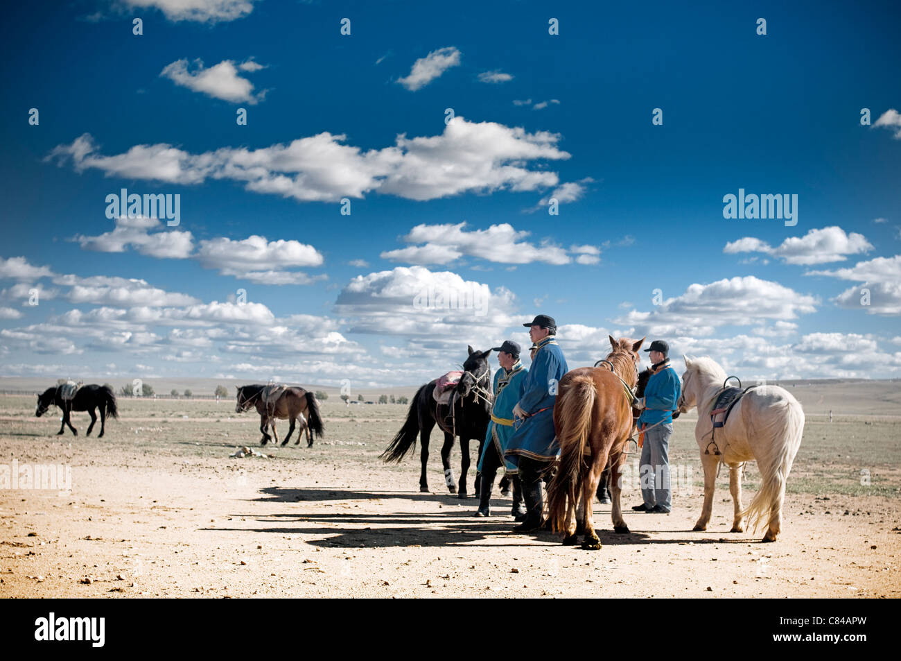 Mongolian tribe in Inner Mongolia Peoples Republic of China. The people still live a traditional life breeding horses. - Stock Image